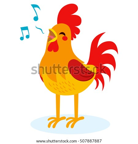 Cute Rooster singing isolated on white background