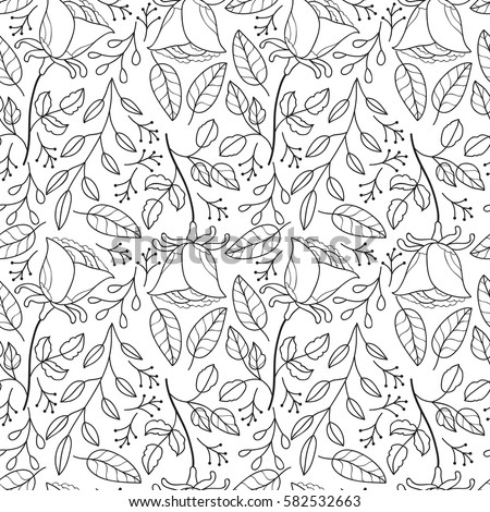 Cute Flower Seamless Pattern Owls Abstract Stock Vector ...