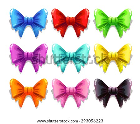 Cute satin colorful bows set, isolated on white, vector