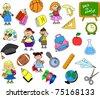 cute schoolboys and schoolgirls, School elements - stock vector
