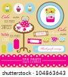 cute scrapbook tea time elements collection.vector illustration - stock vector