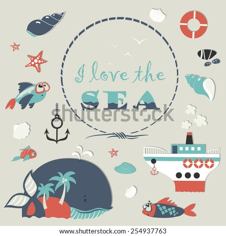 Cute sea object icons collection. Vector illustration