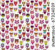 Cute seamless owl background patten for kids in vector - stock