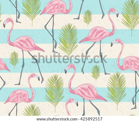 Cute seamless pattern with flamingos and palm. Vector background with birds. cute flamingo. flamingo pattern. flamingo background. pink flamingo. flamingo and palms. flamingo and stripes.