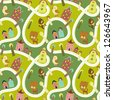 Cute seamless pattern with road, houses and animals - stock vector