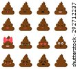 Cute set of cut poop emoticon smileys isolated on white background. Vector flat illustration - stock vector