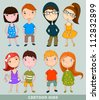 cute set of kids - stock vector