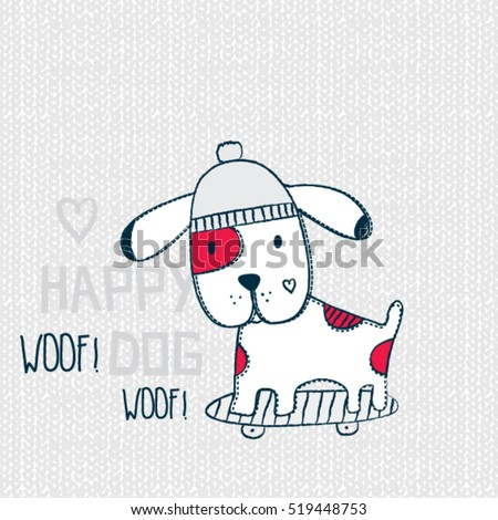 cute skateboarder dog, T-shirt graphics for kids vector illustration
