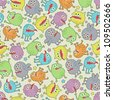 Cute small monsters seamless texture with stars. Vector pattern with space microbes. - stock vector