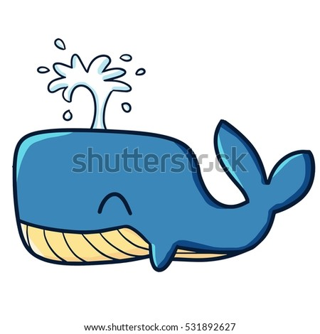 Cute smiley blue whale - vector.