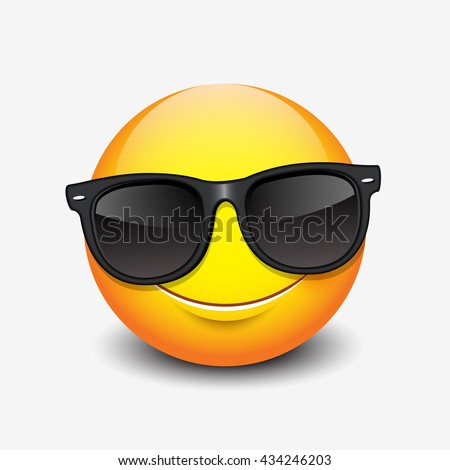 Cute smiling emoticon wearing black sunglasses, emoji, smiley - vector illustration
