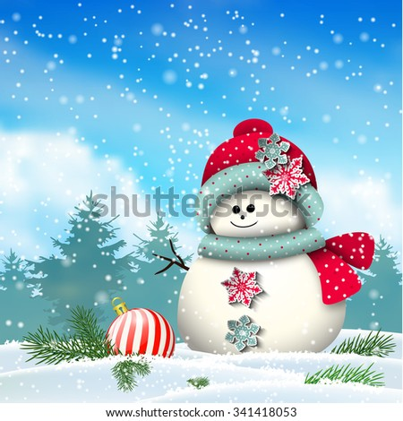 Cute snowman in snowy winter landscape, christmas winter theme, vector illustration, eps 10 with transparency and gradient meshes