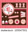 cute tea party scrap collection. vector illustration - stock vector