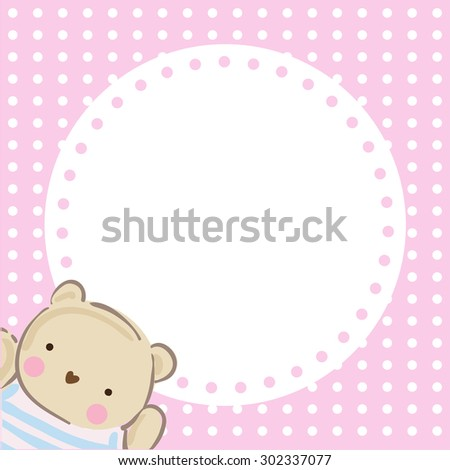 Cute teddy bear vector with pink background