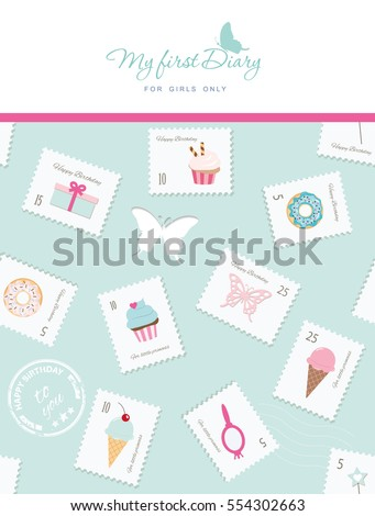 Cute template for notebook cover for girls. My first Diary. Included seamless pattern with stamps, cupcakes and sweets. Vector EPS10.