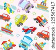 cute transport seamless pattern - stock vector