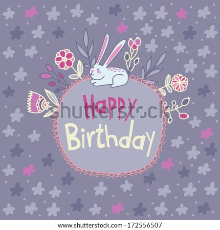 Cute vector card Happy Birthday with little funny rabbit and flowers