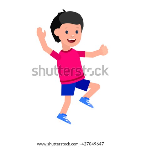 Cute vector character in action. Cheerful active child run and jump. Happy kid illustration