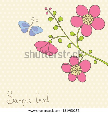 Cute vector illustration in light tones. Pink lowers and butterfly. Can be used for celebration postcard, wedding invitation, etc.