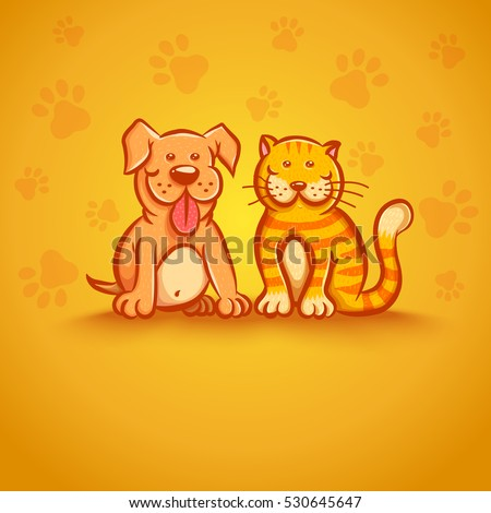 Cute vector illustration of cat and dog. Pets on yellow background.