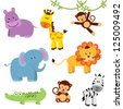 Cute Vector Set of Zoo Animals - stock vector