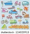Cute vehicles clip art - stock vector