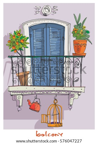 Set vintage buildings stock vector 93680995 shutterstock for Balcony clipart