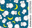 Cute White Sheep and Yellow Moon Seamless Pattern on Light Blue Background - stock vector