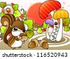 Cute Wild Squirrel and Beautiful Landscape - eating delicious nuts with a happy young squirrel in romantic garden on a white background : vector illustration - stock photo