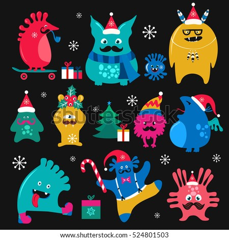 Cute winter holidays monsters set. Funny fantasy creatures, colorful