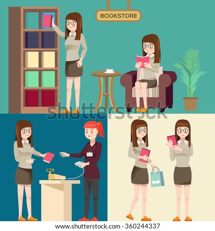 Cute woman character buy books in the bookstore. Flat cartoon style.
