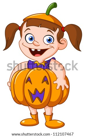 Cute young girl in a pumpkin costume celebrating Halloween