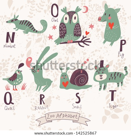 P Alphabet In Love alphabet in vector. N, o, p, q, r, s, t letters. Funny animals in love ...