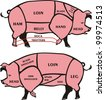 cuts of pork - american & british meat diagrams - stock vector