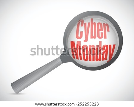 cyber monday searching for deals illustration design over a white background