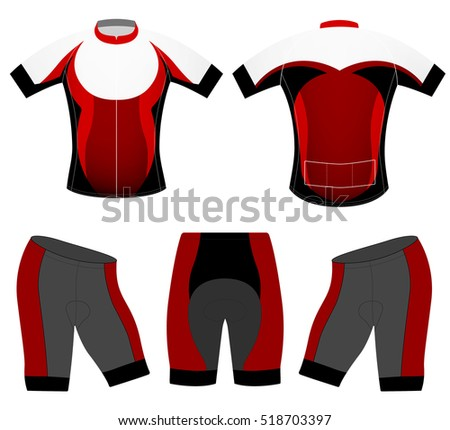 Cycling clothing vector sports uniform fashion design on a white background