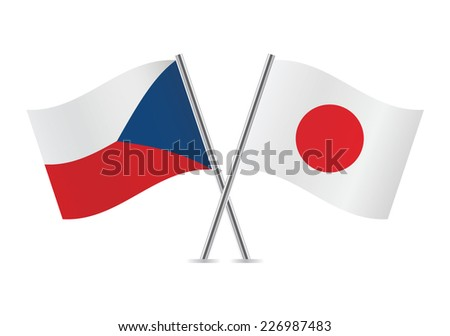 Czech and Japanese flags. Vector illustration.