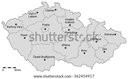 Czech republic administrative map. Regions, capital city and regional cities on the map with scale.