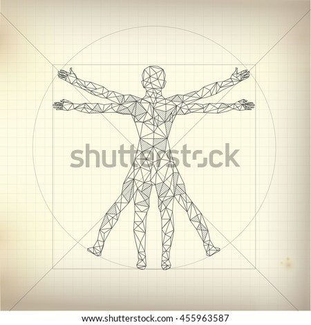 vitruvian man blueprint version detailed drawing stock. Black Bedroom Furniture Sets. Home Design Ideas