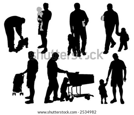 Daddy's time (vector silhouettes)
