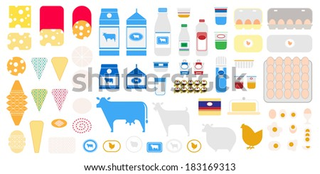 Dairy icon set