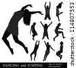 DANCING and JUMPING. SET of VECTOR SILHOUETTES. To see similar, please visit MY PORTFOLIO. - stock vector