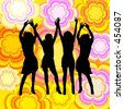 Dancing females on retro background - vector image - stock vector