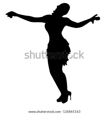 dancing girl silhouette, vector