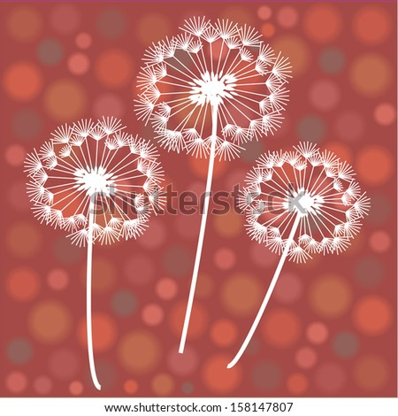 dandelion silhouettes isolated on funny polka dots background
