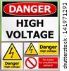 Danger High-Voltage Label Set - stock vector