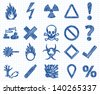 Danger, warning sign icon Doodle illustration collection - stock vector