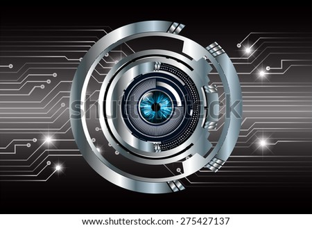 dark black color Light Abstract Technology background for computer graphic website internet and business. circuit.vector illustration. infographics.eye.eyeball.