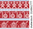 Dark blue, light blue and red Scandinavian nordic seamless pattern with gingerbread man, xmas candy candy cane, gingerbread house, xmas trees, heart, baubles, stars, snowflakes in cross stitch   - stock vector