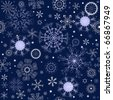 Dark blue repeating pattern with snowflakes and stars (vector) - stock vector